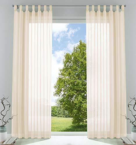 2er-Pack Gardinen Transparent Vorhang Set Wohnzimmer Voile Schlaufenschal mit Bleibandabschluß HxB 225x140 cm Creme, 61000CN
