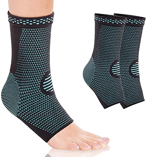 Ankle Brace Compression Support Sleeve (1 Pair) for Injury Recovery, Joint Pain...
