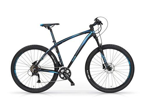Mountain Bike MBM Twentyseven5 in Lega Front Suspended Freni a Disco 27,5 Pollici 27 Velocità (Nero Opaco/Blu, M)