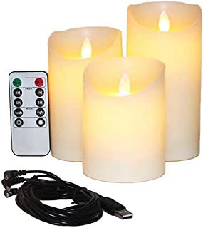 Flameless Candles Electric with Rechargeable Battery (Autbye 2019 Advanced Edition) Extra Bright Ivory Dripless Real Wax Pillars LED Smart Candle Flickering with 10-Key Remote Control (3 Pack)