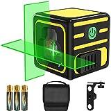 Livella laser Verde 20M, papasbox Laser a Croce Autolivellante Misuratore a Infrarossi Orizzontale e Verticale, Livello Laser Autolivellante con Base Magnetica, 360 Gradi Rotante, IP54