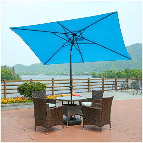 ZJDMF Large Outdoor Umbrella Rectangular Standing Umbrella Balcony Parasol Garden Parasol Sunshade UV Protection With Steering Design Windproof