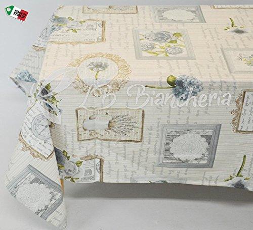 R.P. Tafelkleed keuken woonkamer Parijs Provence Chic - Made in Italy 100% katoen - grijs - vierkant cm 140 x 240 (12 personen)