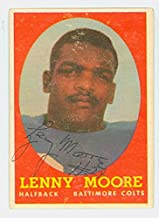 Lenny Moore AUTOGRAPH 1958 Topps Football #100 Baltimore Colts HOF '75 CARD IS VG/EX, LT SURF WEAR