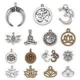 NBEADS Alrededor de 81 Piezas de Colgantes de Aleación, Ohm Charms OM Lotus Flower Styles Charms...
