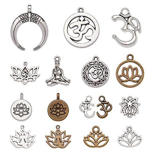 NBEADS Alrededor de 81 Piezas de Colgantes de Aleación, Ohm Charms OM Lotus Flower Styles Charms Colgantes DIY para Hacer Joyas Pulsera de Collar