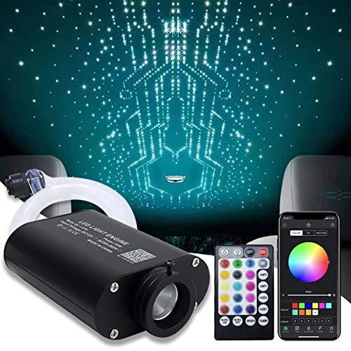 AMKI Car Use 16W LED Fiber Optic Star Ceiling Kit RGBW Light, APP Control 28 Keys Remote Sound Sensor Music Sync Lighting 0.03in/0.75mm 0.04in/1mm 0.06in/1.5mm 9.8ft/3m Long 430PCS
