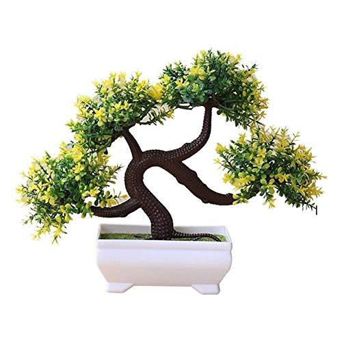 CLQya Artificial Bonsái, simulación artificial de plástico Bonsai Plantas de macetas, plantas creativo Bonsai Tiesto verdes en maceta, Bonsai Inicio Sala de estar Balcón Decoración (Color: Amarillo),