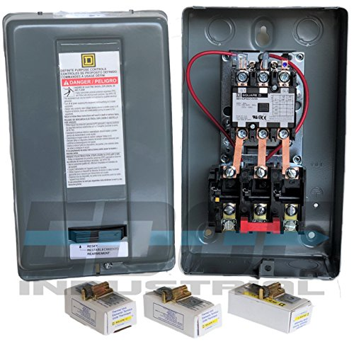 SQUARE D MAGNETIC MOTOR STARTER CONTROL 5HP 20AMP 208-230VOLT 3-PHASE FOR AIR COMPRESSOR MOTORS