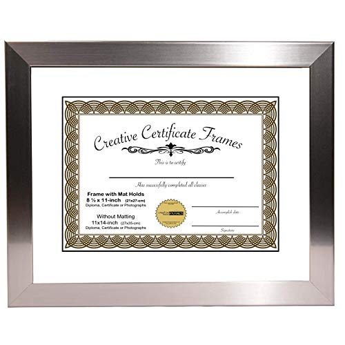 "Stainless Steel Finish Document Frame Displays 8.5"" by 11"" with Mat or 11"" by 14"" without mat includes Stand & Wall Hanger"