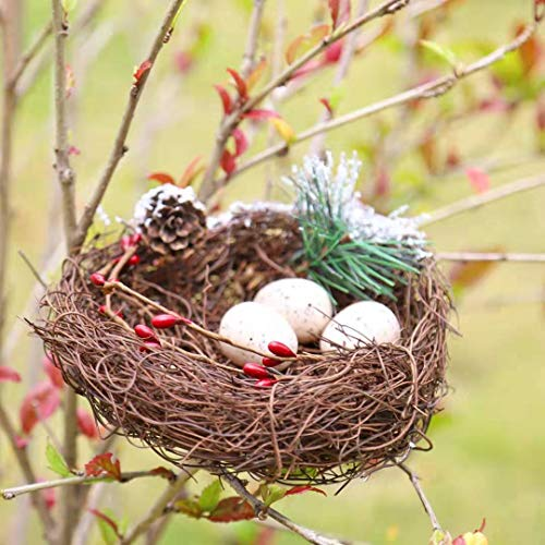 M-ELEGANT Artificial Flower 6in Artificial Bird Nest Fake Berries Pinecones Wedding Garden Christmas Tree Filler Decorations (1pc Artificial Nest)
