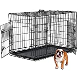 Dog Crate, Dog Kennel 42 Inch Double Door Metal Crate Foldable Puppy Supplies Cage with Divider Panel, Handle, Plastic Tray for Pet Animals Outdoor Indoor (42 Inch)