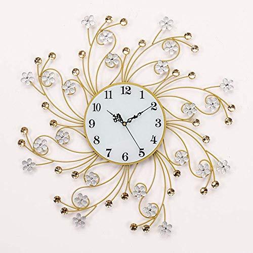 Reloj de pared, relojes de pared con diamantes de cristal, decoración en forma de flores de metal en 3D, relojes silenciosos, grandes relojes de pared para sala de estar, silencioso, sin tictac, mod