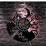 JKLMZYT Owl Love Hoo You Are Reloj de Pared con Disco de Vinilo Animales Luz Led Reloj Colgante de Pared Vintage Regalo Moderno Decorativo Fresco para el hogar
