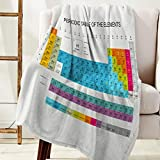 Olivefox Luxury Flannel Blanket Super Soft Warm Fuzzy Lightweight Bed or Sofa Blankets, Periodic Table of Elements (Twin Size 50'x60')