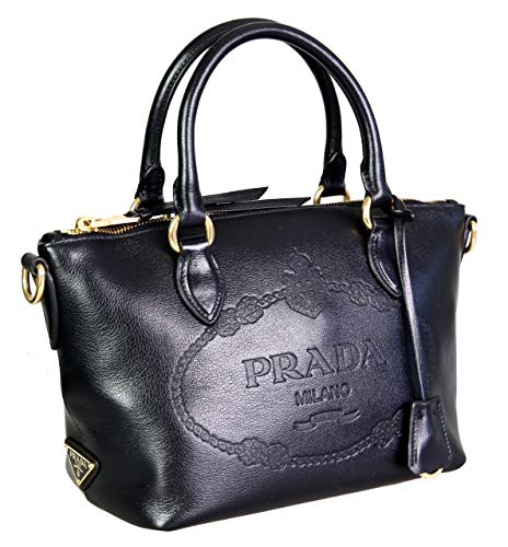 Prada Women's 1BA111 Black Leather Shoulder Bag