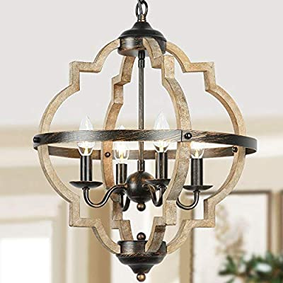 T&A Orb 4-Light Farmhouse Chandelier, Stardust Finish Rustic Brown Chandelier,Wood and Iron Component Vintage Island Light for Kitchen Dining Room Foyer