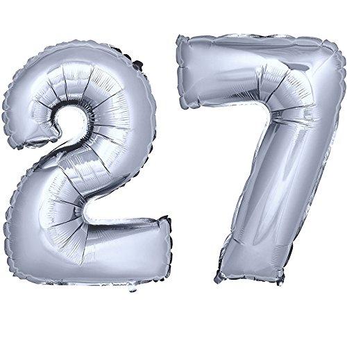 DekoRex® número Globo decoración cumpleaños Brillante para Aire en argentado 40cm de Alto No. 27