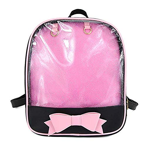 Ita Bag Bow-Knot Candy Leather Backpack Transparent Girls School Bag for Pins Display Beach Bag (Black and Pink)