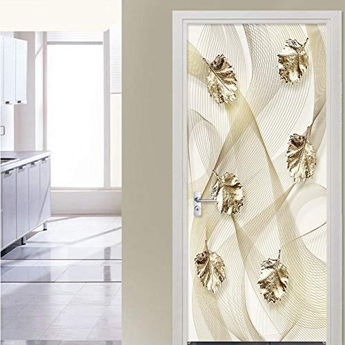 Papel pintado de PVC 3D en relieve pegatinas de puerta de hoja de oro sala de estar dormitorio autoadhesivo impermeable decoración del hogar pegatinas de pared