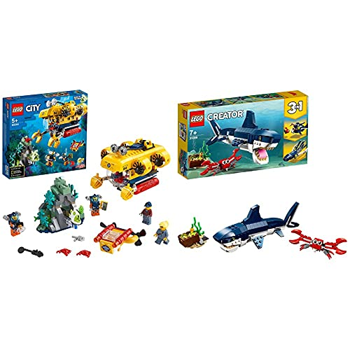 LEGO City Oceans Sottomarino Da Esplorazione Oceanica, Playset Avventure Acquatiche &CreatorCreatureDegliAbissi:Squalo,GranchioECalamaroORanaPescatrice,SetDaCostruzione3In1