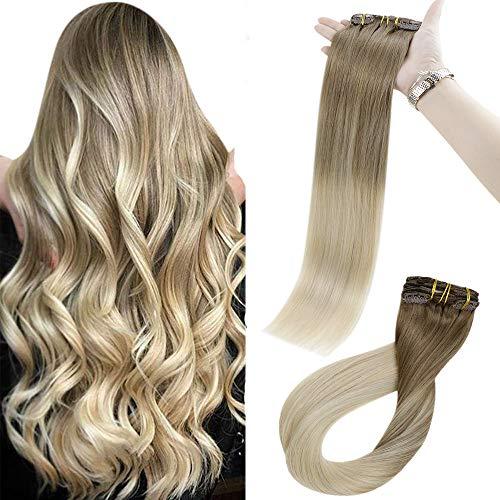 Easyouth Clip On Hair Extensions 100% Pelo Brasileño 12 pulgadas Color 8/60 Ash Brown Mix Platinum Blonde 70g/paquete 7 piezas Remy Real Human Hair Double Weft Clip Extension