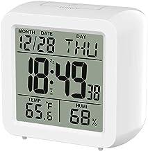 Baugger Monitor LCD digital de tela grande interno Medidor de temperatura e umidade no quarto Relógio calendário despertad...