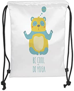 Drawstring Backpacks Bags,Yoga,Cute Cartoon Panda with Be Cool Do Yoga Quote Motivational Cheerful Fun,Sky Blue Yellow White Soft Satin,5 Liter Capacity,Adjustable String Closure,T