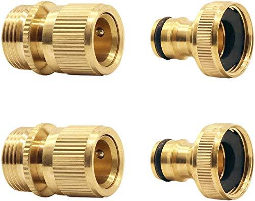 Hydrogarden Gartenschlauch Schlauchverbinder Vollmessing Gartenschlauchanschluss 3/4 Zoll, Steckverbinder für den Schlauchanfang, schneller und einfacher Anschluss(2SETS)