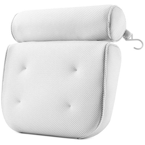 PEULEX Comfortable Bathtub Pillow, With Strong Suction Cups & Hook, Soft Spa Pillow For Luxurious Bathing, Hot Tub Pillow Designed With Soft Mesh For Maximum Pleasure, Full Neck & Back Support (White)