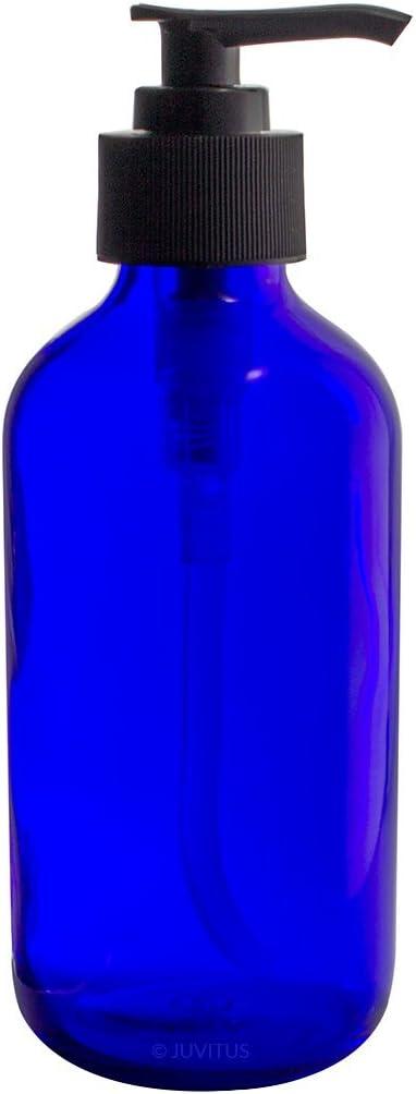 8 oz Cobalt Blue Boston Round Lotion Bott Black Pump Glass Max Luxury goods 87% OFF Thick