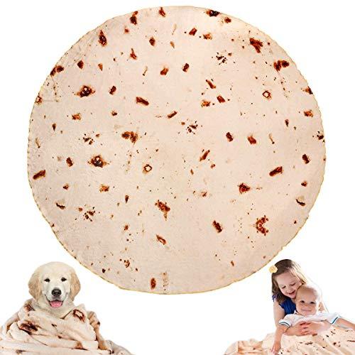 JISUSU Burritos Tortilla Blanket,Tortilla Warmer Blanket Realistic Soft Plush Comfort Round Food Blanket for Boys Girls Adults,Giant Human Taco Blanket-Diameter 60 inches …