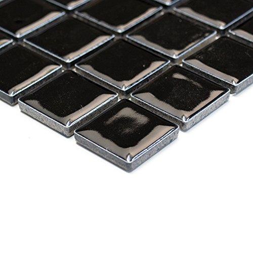 Piastrelle Mosaico Mosaico Piastrelle Bagno Cucina Quadrato In Ceramica di colore nero 6mm nuovo # 214