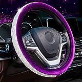 Alusbell Crystal Diamond Steering Wheel Cover Soft Velvet Feel Bling Steering Wheel Cover for Women Universal 15 inch Plush Wheel Cover for Escape Fusion Focus Accord Prius Rav4 Purple