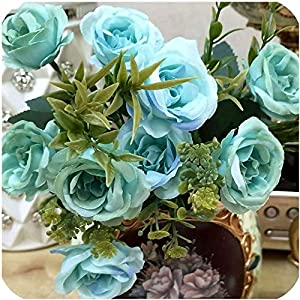 GzxLaY Wedding Favor and Gifts Silk 1 Bunch French Rose Floral Bouquet Fake Artificial Flowers Arrange Daisy Camellia Party Decor, rple,Size:One Size,Color:White (Color : Pink 2, Size : One Size)