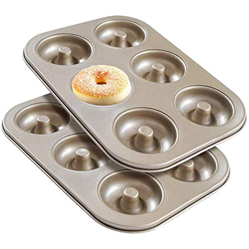 Senmubery Donut Molds,2 Pieces Large Carbon Steel Donut Baking Pan Tray, 6 Cavity Non-Stick Doughnut Baking Tin for Cake Biscuit Bagels Muffins