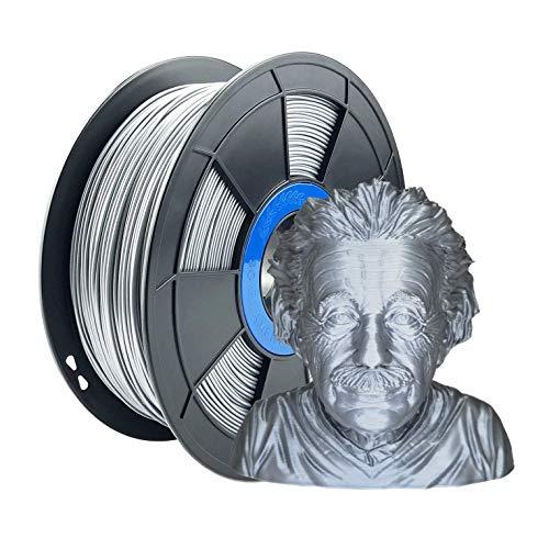 ZIRO Filamento para impresora 3D PLA PRO Metal Series 1.75 1KG (2.2lbs), Precisión dimensional +/- 0.03mm,Plata