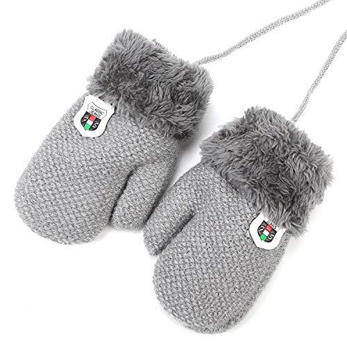 Moufles Enfant Bébé Filles Garçons Gants Hiver Gant de Ski Gants en Tricot Gloves Couleur Pure Gants Chauds Doublure Polaire Gants avec la Corde Tour du Cou Cadeau Noël 0-2 Ans