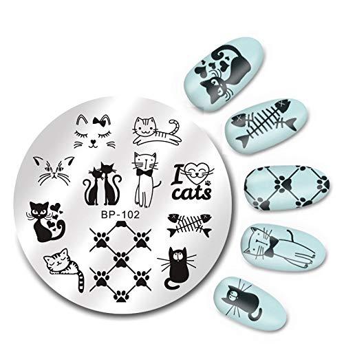 Manucure Nail Plaques 5.5Cm Rond Nail Art Template Mignon Chats Design Modèle Image Manucure Pochoir Plaque Impression