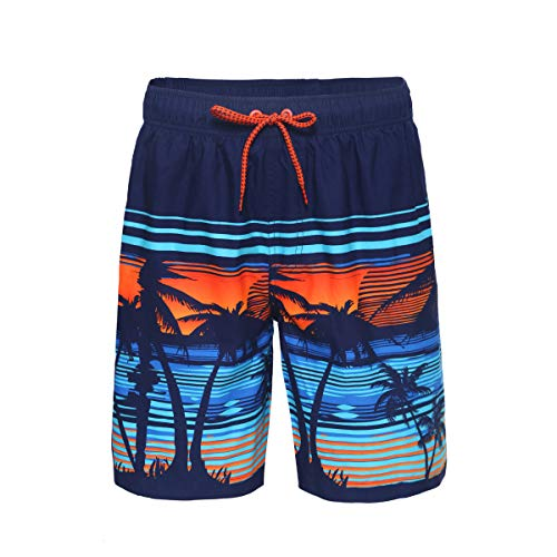 Rokka&Rolla Men's Quick Dry Drawstring Waist Beach Swim Trunks Board Shorts with Mesh Lining