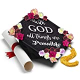 Handmade Graduation Cap Topper - With God All Things are Possible Grad Cap Tassel Topper - Graduation Gifts Graduation Cap Decorations, Grad Cap Topper, Decal