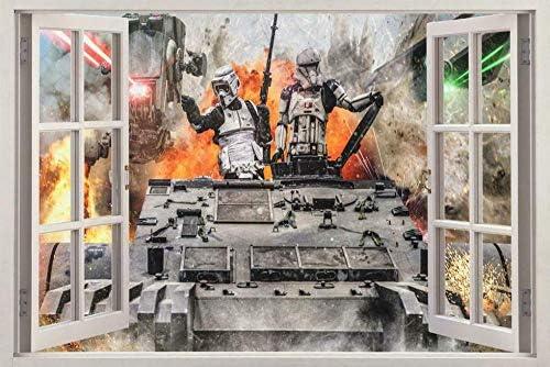 Nicoole 3D Muurstickers Planeet Rijk Vechten 3D Venstersticker Muursticker Familie Kunst Muurschildering Decoratieve Stickers