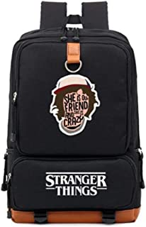 Unisex Stranger Things Series Fashion Basic Multifunctional Canvas Backpack for School Students and Travelling Outdoors Rucksack for Children and Adults,Black-b046