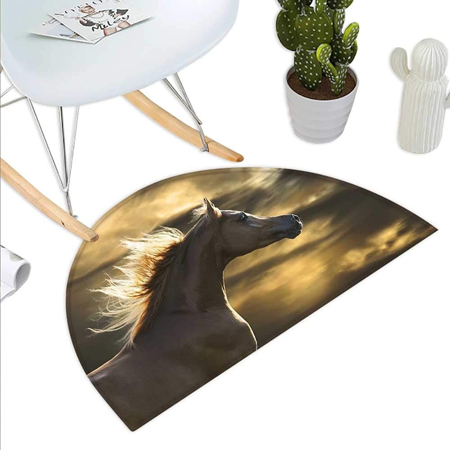 Horse Decor Semicircle Doormat Chestnut Horse Profile on Dramatic Cloudy Sunset Sky Strong Wild Young Mammal Halfmoon doormats H 43.3  xD 64.9  Brown Yellow