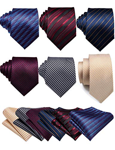 Barry.Wang Pack of 6 Stripe Tie Pocket Square Set for Men with Cufflink Tie Clip Business Necktie