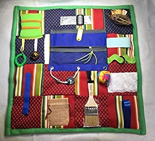 GeriGuard Solutions Memory Loss Fidget Quilt, Dementia Toy, Alzheimer's Blanket. GRN/RED/BLUE with Paint Brush. Size: 21 inches x 21 inches