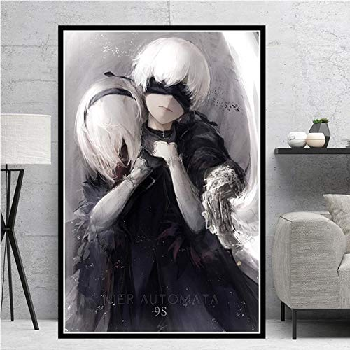 KWzEQ Game Girl Japanese Anime Manga Oil Canvas Painting Poster Print Mural Living Room Decoración del hogar80X120cmPintura sin Marco