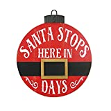 NIKKY HOME 16' x 18' Santa Stops Here in Days Countdown Calendar Christmas Round Hanging Chalkboard Sign Plaque