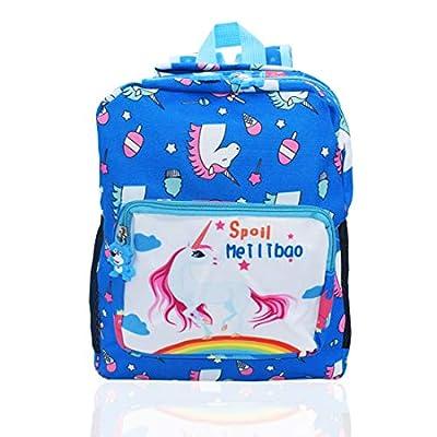 Mochila Unicornio Niños Impermeable ZSWQ Mochila Niña Mochila Escolar Para Escuela Primaria y Secundaria Bolsas De Libros Para Chicas Para La Escuela, Viajes, Intemperie, Azul,30 x 25 x11 CM