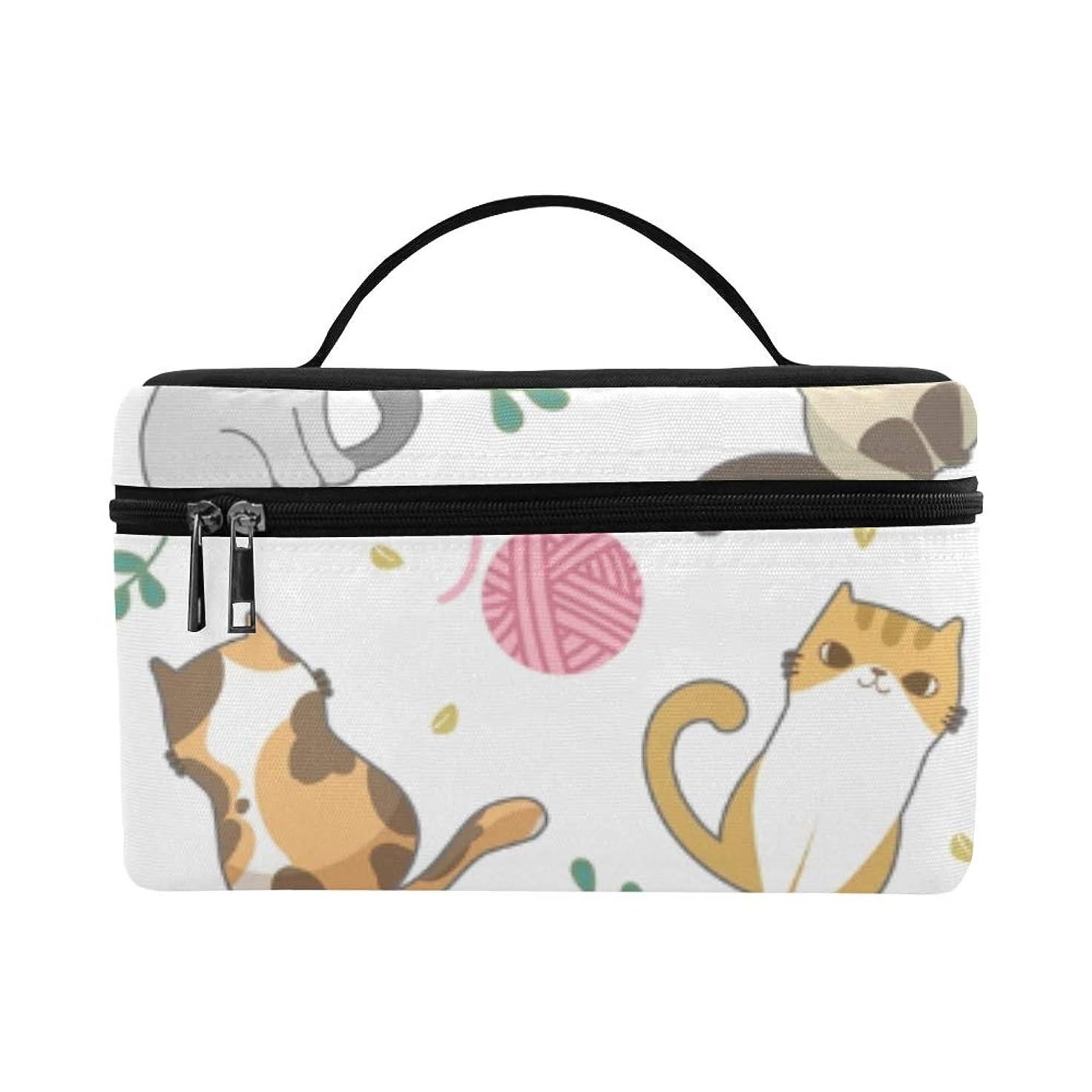 ボウル目指す句GGSXD メイクボックス かわいい動物の猫の家族 コスメ収納 化粧品収納ケース 大容量 収納ボックス 化粧品入れ 化粧バッグ 旅行用 メイクブラシバッグ 化粧箱 持ち運び便利 プロ用